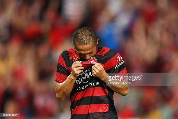 Shinji Ono of the Wanderers celebrates after scoring a penalty during the round 18 A-League match between the Western Sydney Wanderers and the...