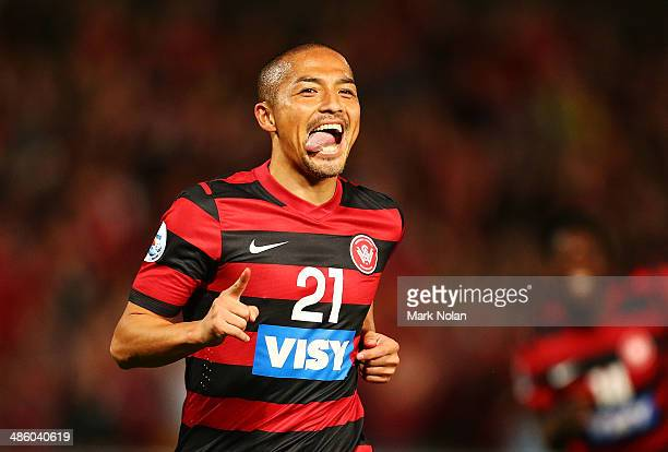 Shinji Ono of the Wanderers celebrates scoring a goal during the AFC Asian Champions League match between the Western Sydney Wanderers and Guizhou...