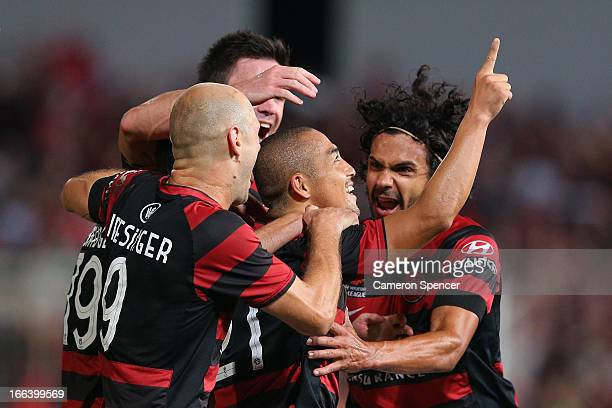 Shinji Ono of the Wanderers celebrates scoring a goal with team mates during the A-League Semi Final match between the Western Sydney Wanderers and...