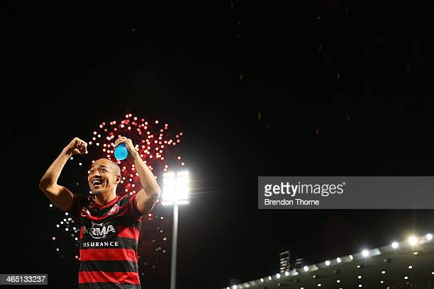 Shinji Ono of the Wanderers celebrates with fans after the round 16 ALeague match between the Western Sydney Wanderers and Perth Glory at Parramatta...