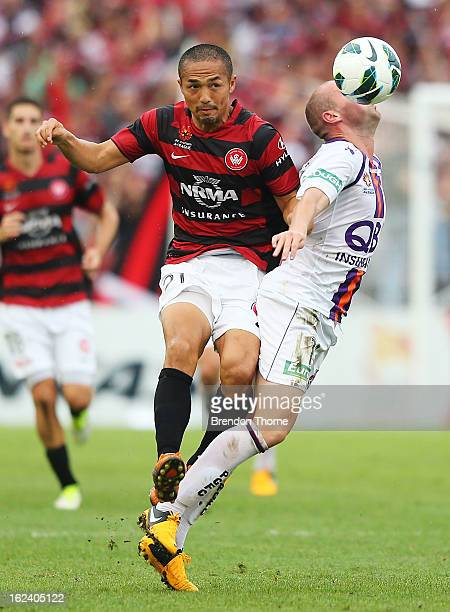 Shinji Ono of the Wanderers competes with Steven McGarry of the Glory during the round 22 ALeague match between the Western Sydney Wanderers and the...