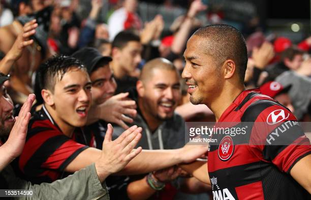 Shinji Ono of the Wanderers greets fans after the round one ALeague match between the Western Sydney Wanderers FC and the Central Coast Mariners at...