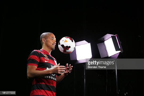 Shinji Ono of the Wanderers is seen backstage during a 2013/14 Western Sydney Wanderers ALeague filming session at Fox Sports Studios on September 20...