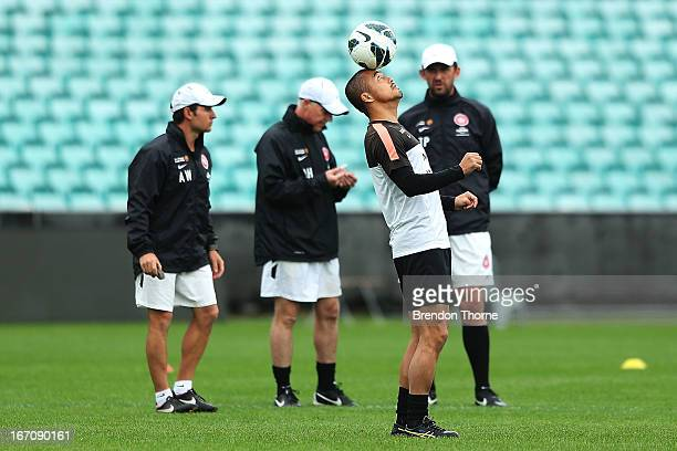 Shinji Ono of the Wanderers juggles a ball during a Western Sydney Wanderers ALeague training session at the SCG on April 20 2013 in Sydney Australia
