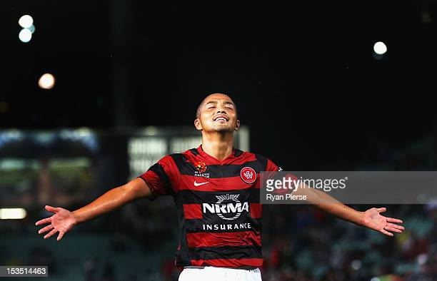 Shinji Ono of the Wanderers reacts during the round one A-League match between the Western Sydney Wanderers FC and the Central Coast Mariners at...