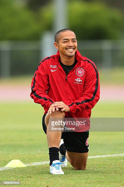 Shinji Ono of the Wanderers shares a joke with team mates during a Western Sydney Wanderers ALeague training session at Blacktown International...