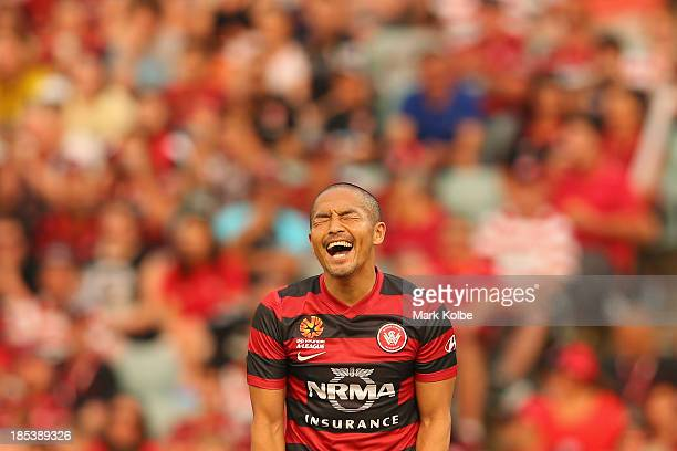 Shinji Ono of the Wanderers shows his frustration during the round two ALeague match between the Western Sydney Wanderers and Wellington Phoenix at...