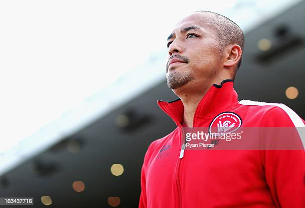 Shinji Ono of the Wanderers walks out onto the ground before the round 24 ALeague match between the Western Sydney Wanderers and the Wellington...