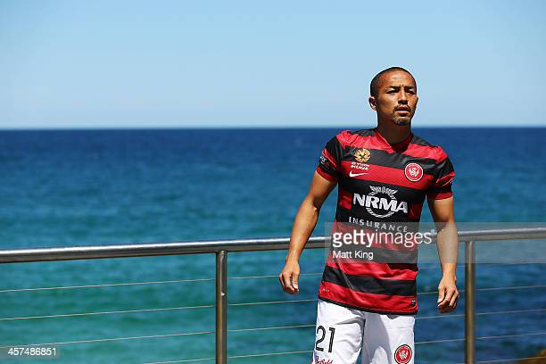 Shinji Ono of the Western Sydney Wanderers attends the launch of the ALeague's Summer of Football at Bondi Icebergs on December 18 2013 in Sydney...
