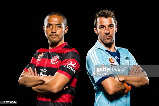 Shinji Ono of the Western Sydney Wanders and Alessandro Del Piero of Sydney FC pose during the 2013/14 ALeague Season Launch at Allianz Stadium on...
