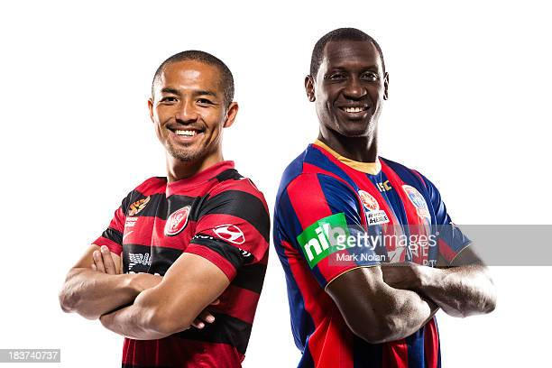 Shinji Ono of the Western Sydney Wanders and Emile Heskey of Newcastle Jets pose during the 2013/14 ALeague Season Launch at Allianz Stadium on...