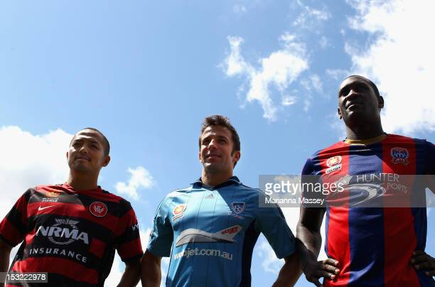 Shinji Ono of Western Sydney Wanderers Alessandro Del Piero of Sydney FC and Emile Heskey of Necastle Jets pose during the 2012/13 ALeague Season...