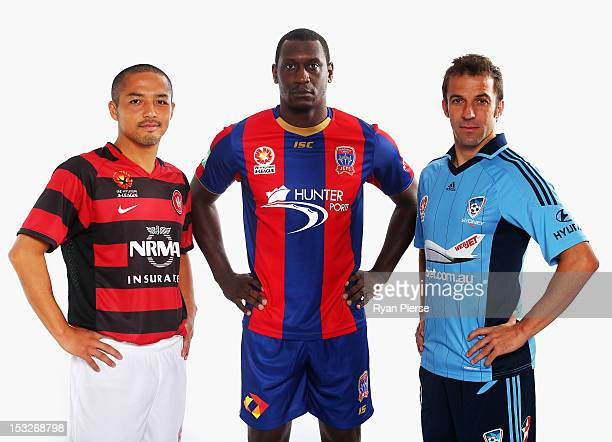 Shinji Ono of Western Sydney Wanderers FC Emile Heskey of Newcastle Jets and Alessandro Del Piero of Sydney FC pose during a 2012/13 ALeague player...