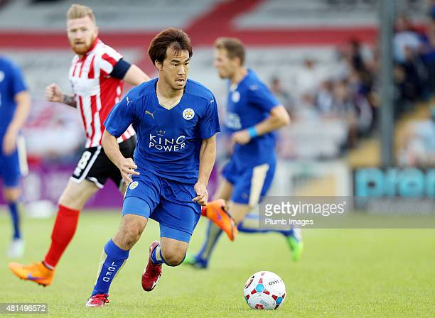 Shinji Ozakaki of Leicester City has time on the ball during the preseason friendly between Lincoln City and Leicester City at Sincil Bank Stadium on...