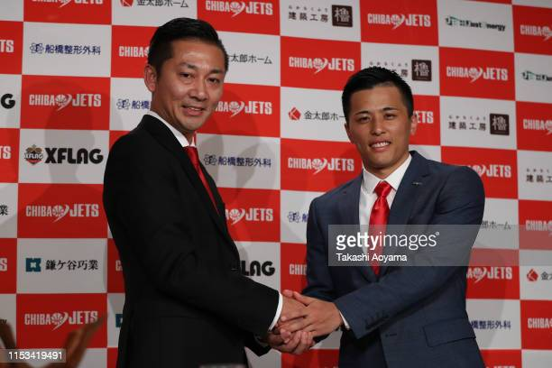 Shinji Shimada, President and CEO of Chiba Jets and Yuki Togashi pose for photograph during a press conference at Imperial Hotel on June 03, 2019 in...
