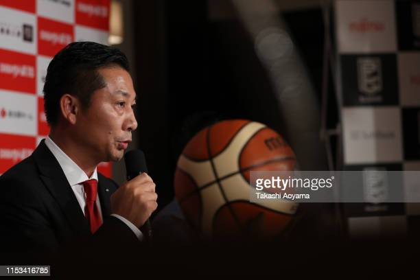 Shinji Shimada, President and CEO of Chiba Jets speaks during a press conference at Imperial Hotel on June 03, 2019 in Tokyo, Japan.