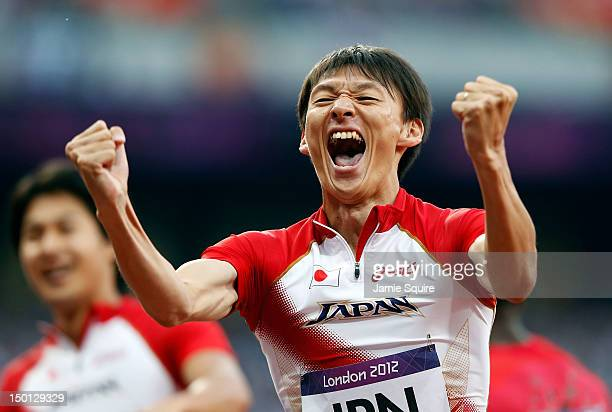 Shinji Takahira of Japan reacts after the Men's 4 x 100m Relay Round 1 heats on Day 14 of the London 2012 Olympic Games at Olympic Stadium on August...