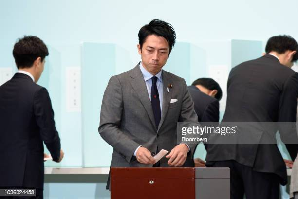 Shinjiro Koizumi a member of the House of Representatives casts his ballot during the Liberal Democratic Party's presidential election at its...