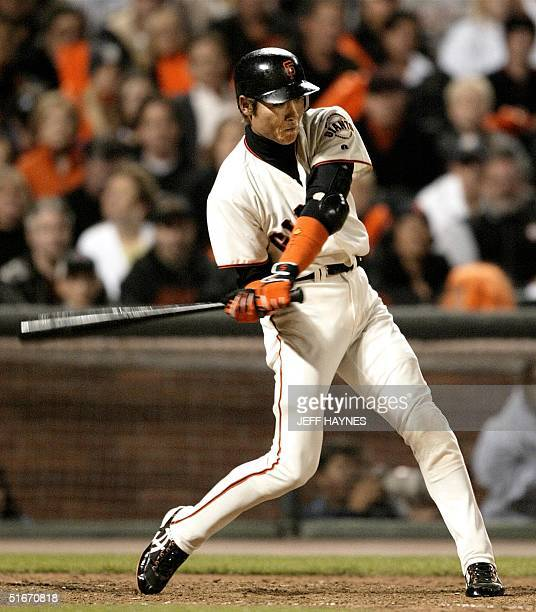 Shinjo Tsuyoshi of San Francisco Giants grounds out during game 4 of the National League Championship Series against the St Louis Cardinals 13...