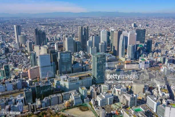 shinjuku buildings aerial photography,tokyo,japan - 新宿区 ストックフォトと画像