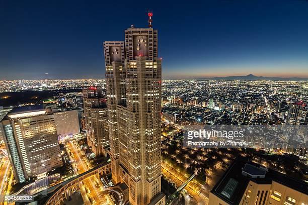 Shinjuku night twilight view in high angle, Tokyo, Japan