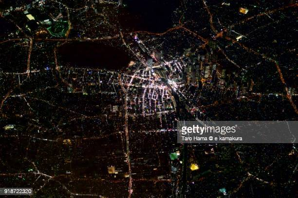 jr shinjuku station in tokyo in japan night time aerial view from airplane - 関東地方 ストックフォトと画像