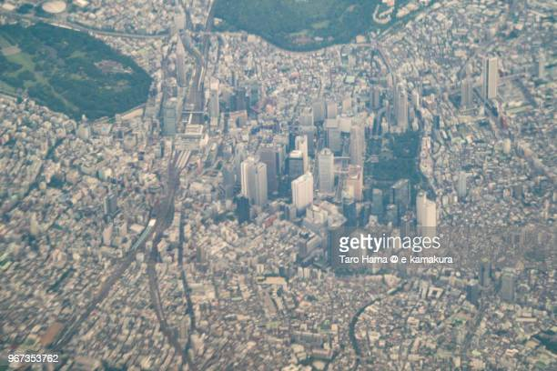 Shinjuku, the center of Tokyo in Japan daytime aerial view from airplane