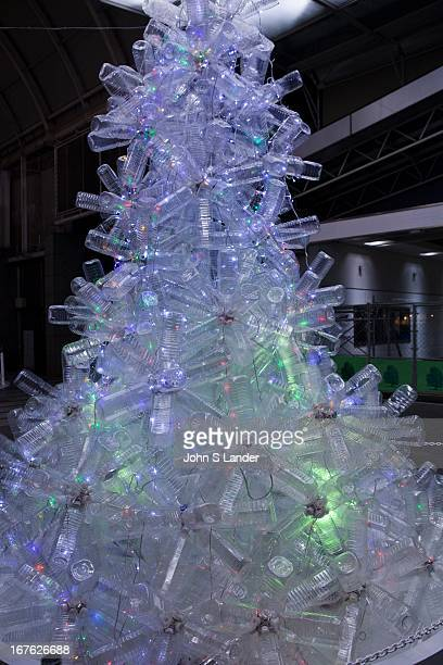 Shinjuku Times Square southern terrace decorated this year with Christmas illuminations constructed entirely out of discarded PET bottles and LED...