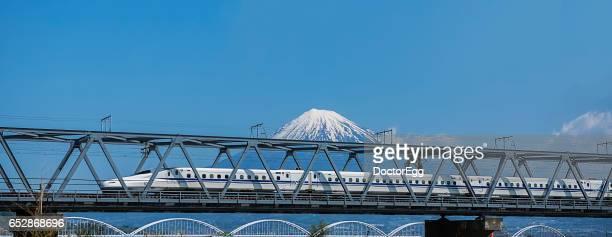 Shinkansen bullet train and Fuji-san at Fuji, Shizuoka