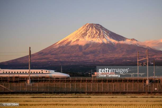 Shinkansen bullet train passes Mt. Fuji