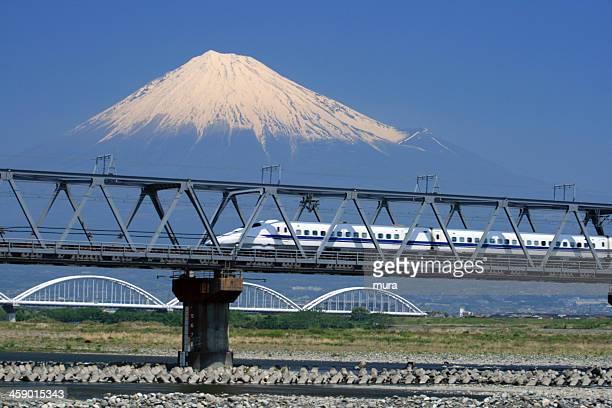 新幹線の近くの山藤通過