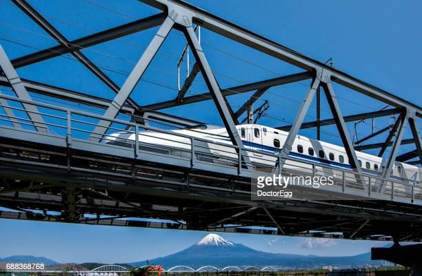 Japan - April 16, 2016 : Shinkansen Bullet Train ran from tokyo station to shin-osaka station with Fuji Mountain background at Shizuoka