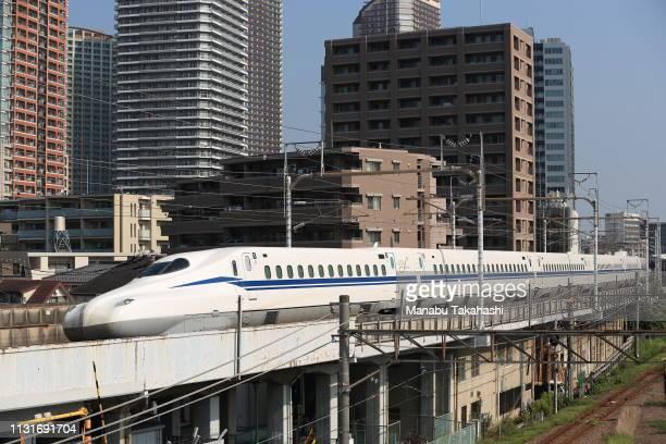 Shinkansen bullet train test runs between Shinagawa and ShinYokohama stations on June 26 2018 in Kawasaki Kanagawa Japan