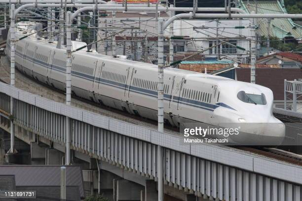 Shinkansen bullet train test runs between Shinagawa and ShinYokohama stations on June 28 2018 in Odawara Kanagawa Japan