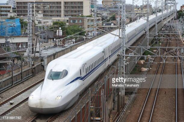 Shinkansen bullet train test runs between Shinagawa and ShinYokohama stations on June 27 2018 in Tokyo Japan