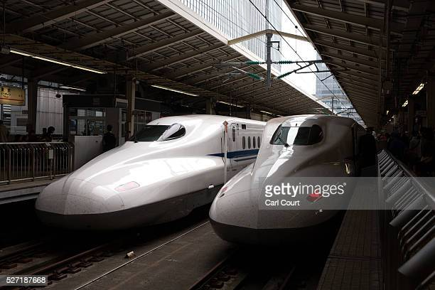 Shinkansen bullet trains are stopped at Tokyo Train Station on May 02 2016 in Tokyo Japan The Shinkansen is a network of highspeed railway lines in...