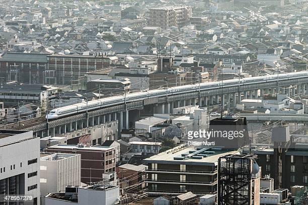 A shinkansen the Japanese bullet train in kyoto