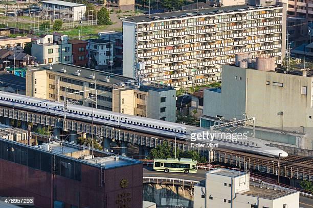 Shinkansen the japanese high speed train in Kyoto