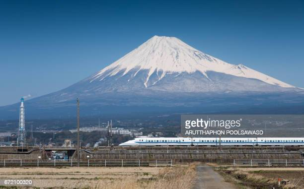 Shinkansen tokaido line  with Mt.Fuji at Shizuoka , Japan
