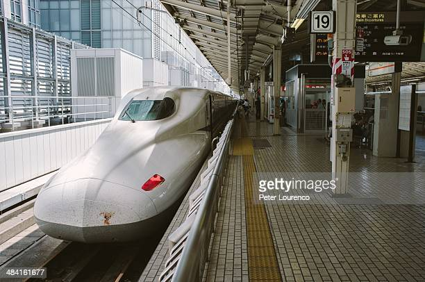Shinkansen waiting at a platform in Tokyo station It's nose is splattered in the blood of some unfortunate animals