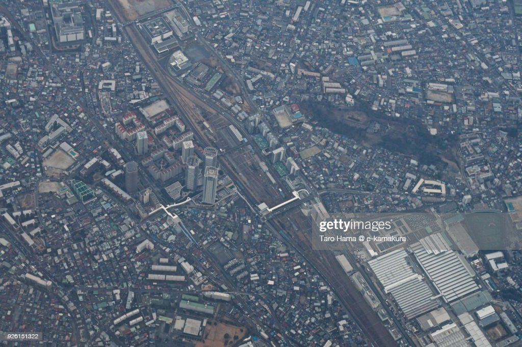 JR Shinkawasaki station in Kawasaki city in Kanagawa prefecture in Japan daytime aerial view from airplane : ストックフォト