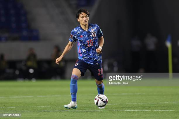 Shinnosuke Nakatani of Japan in action during the FIFA World Cup Asian Qualifier 2nd round Group F match between Japan and Tajikistan at Panasonic...