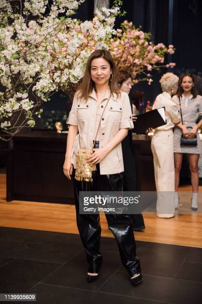 Shino Suganuma attends the Tory Burch Ginza Boutique Opening After Party on April 02 2019 in Tokyo Japan