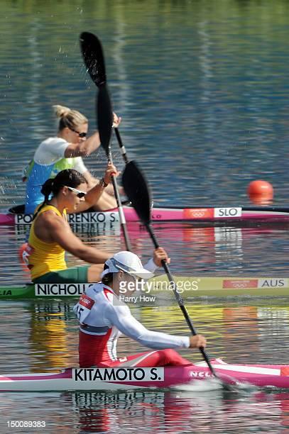 Shinobu Kitamoto of Japan and Alana Nicholls of Australia compete in the Women's Kayak Single 200m Sprint heats on Day 14 of the London 2012 Olympic...