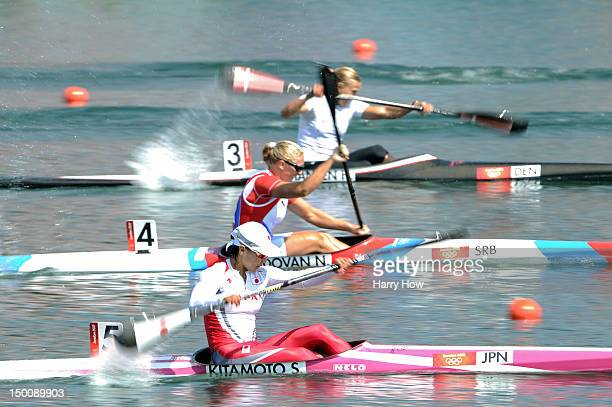 Shinobu Kitamoto of Japan and Nikolina Moldovan of Serbia compete in the Women's Kayak Single 200m Sprint semifinals on Day 14 of the London 2012...