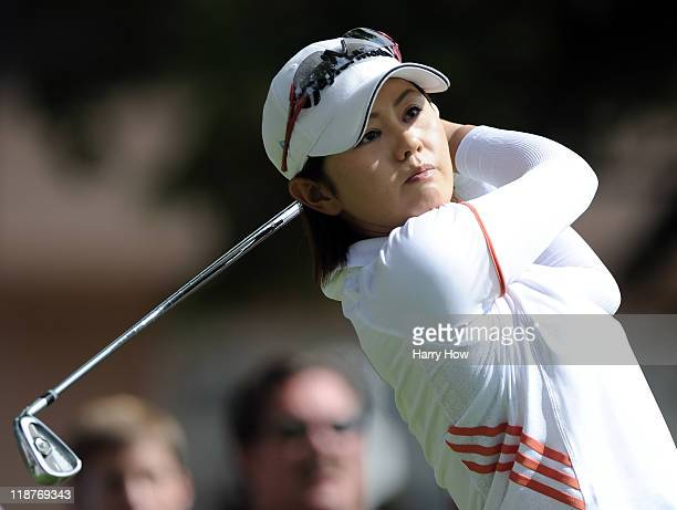 Shinobu Moromizato of Japan hits a shot on the fourth hole during the continuation of the third round of the 2011 US Women's Open at The Broadmoor on...
