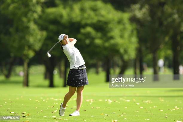 Shinobu Moromizato of Japan hits her second shot on the 11th hole during the second round of the Nitori Ladies 2017 at the Otaru Country Club on...