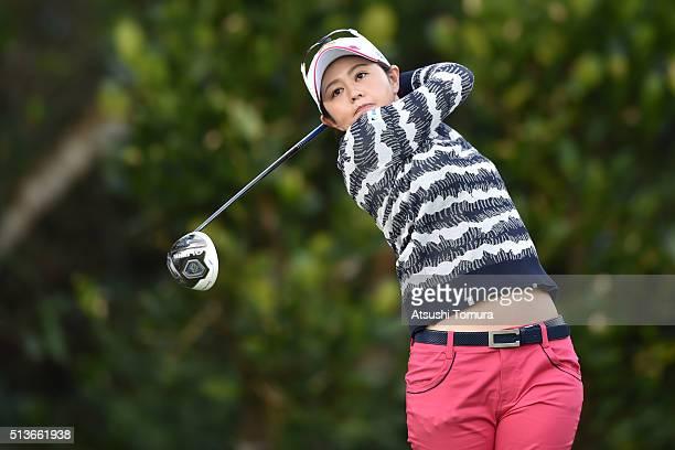 Shinobu Moromizato of Japan hits her tee shot on the 11th hall during the second round of the Daikin Orchid Ladies Golf Tournament at the Ryukyu Golf...