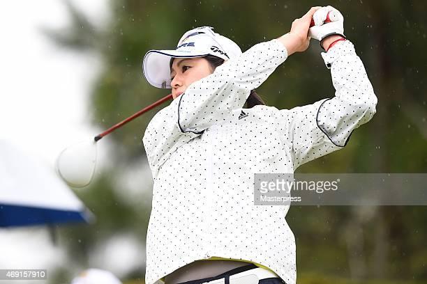 Shinobu Moromizato of Japan hits her tee shot on the 18th hole in the first round of the Studio Alice Open at the Hanayashiki Golf Club Yokawa Course...
