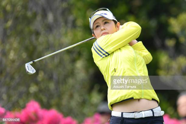 Shinobu Moromizato of Japan hits her tee shot on the 3rd hole during the first round of the Daikin Orchid Ladies Golf Tournament at the Ryukyu Golf...